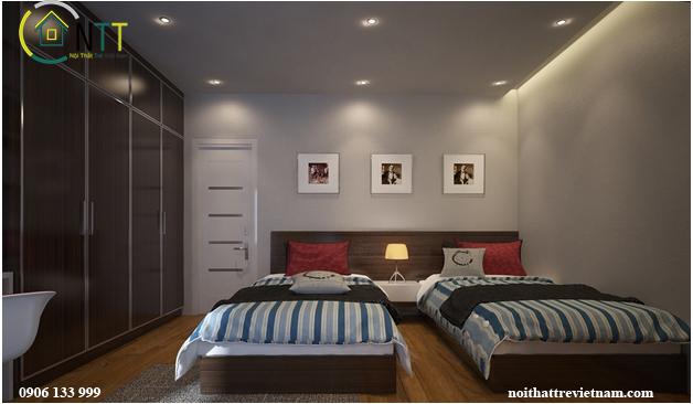 Mẫu phòng ngủ trẻ em với hai giường đơn