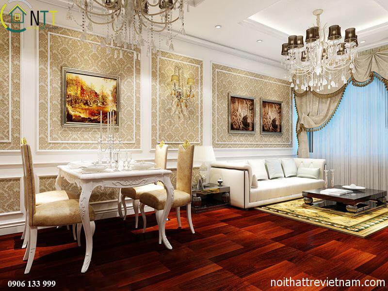 Phòng khách được thiết kế theo phong cách cổ điển châu Âu