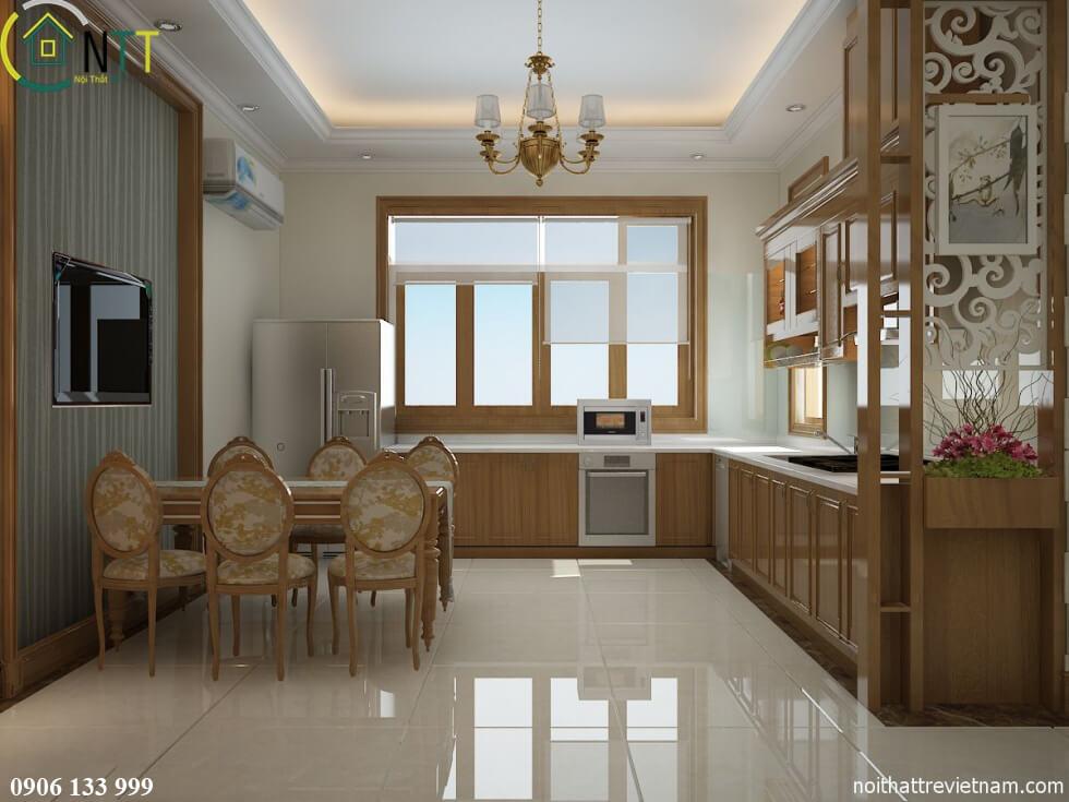 Phòng bếp theo phong cách thiết kế nội thất biệt thự hiện đại mẫu 1