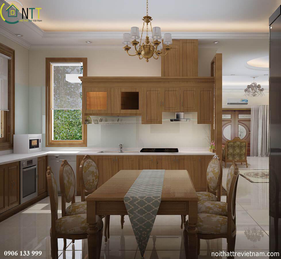 Phòng bếp theo phong cách thiết kế nội thất biệt thự hiện đại mẫu 2