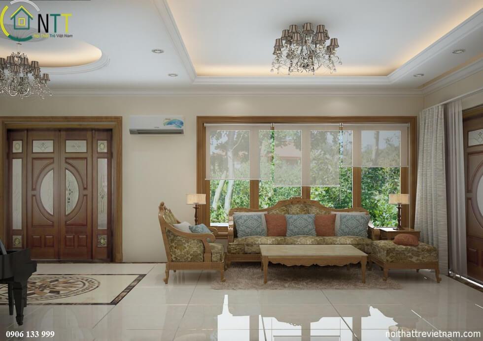 Phong cách thiết kế nội thất biệt thự hiện đại trong không gian phòng khách