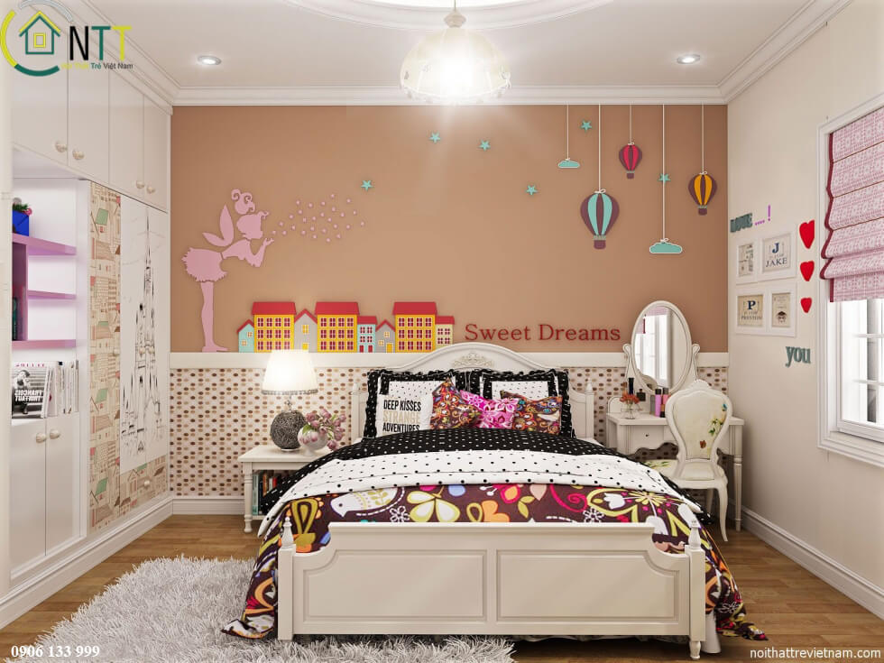 Phong cách thiết kế nội thất biệt thự hiện đại ngay trong phòng ngủ của bé yêu mẫu 1
