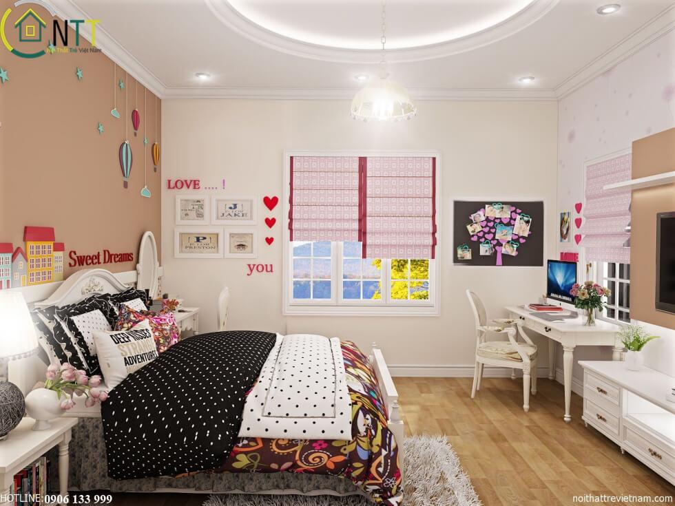 Phong cách thiết kế nội thất biệt thự hiện đại ngay trong phòng ngủ của bé yêu mẫu 2