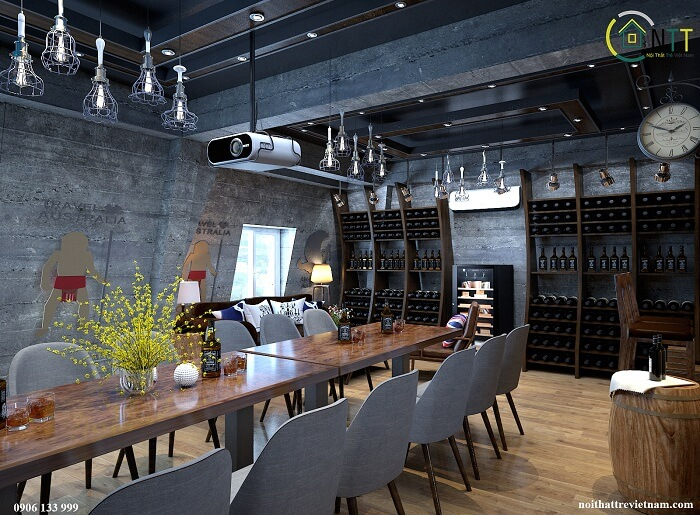 hầm rượu trong căn biệt thự sang trọng
