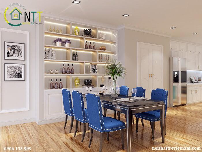 phòng ăn trong mẫu thiết kế nội thất chung cư 100m2 3 phòng ngủ