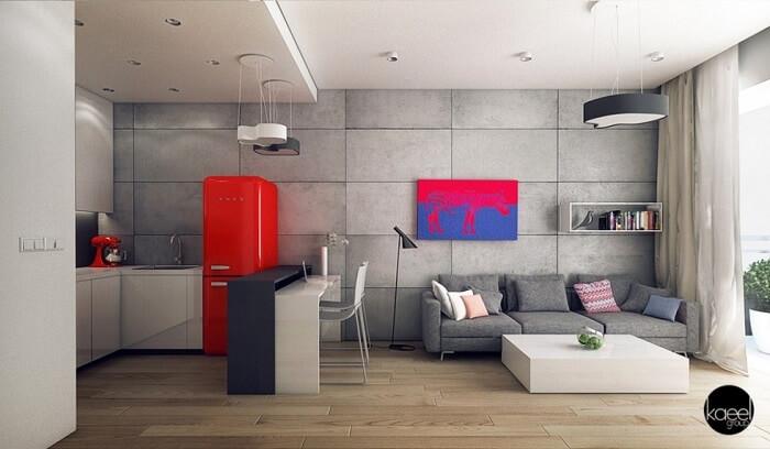 Tủ lạnh màu đỏ chói tạo điểm nhấn cho căn bếp