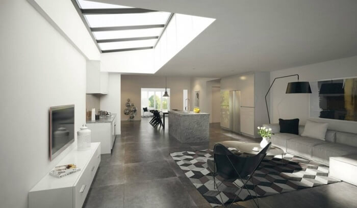 Cửa sổ trên mái nhà giúp đón ánh sáng trực tiếp