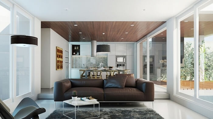 Ghế sofa tối màu được sử dụng triệt để