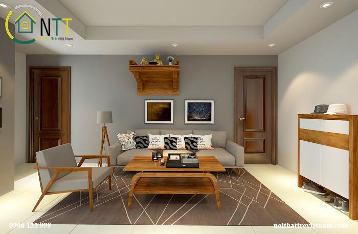 chung cư 70m2 hiện đại sử dụng gỗ tự nhiên