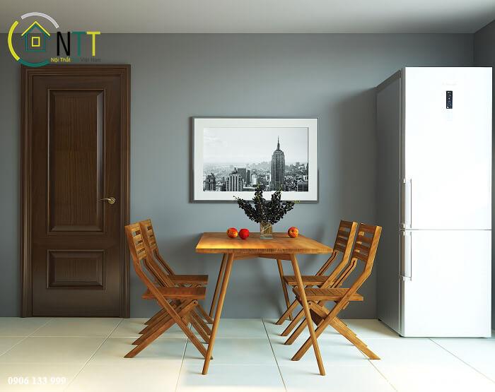 phòng ăn thanh lịch trong căn hộ 70m2