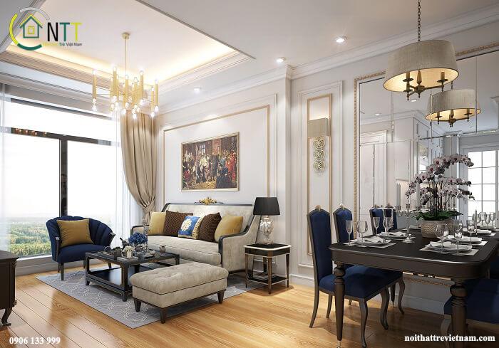 nội thất chung cư 70m2 tân cổ điển sang trọng