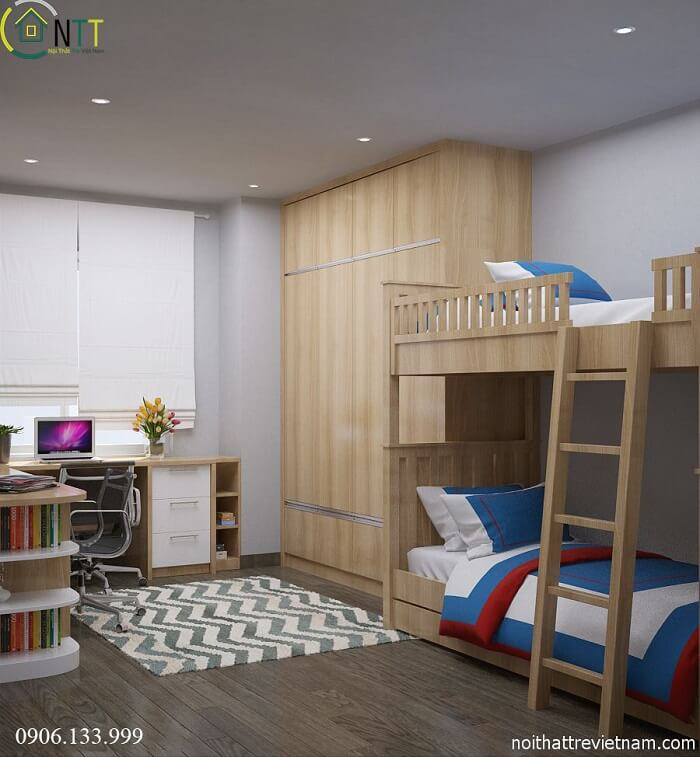 Tổng quan thiết kế nội thất phòng ngủ trẻ em chung cư 70m2 nhà anh Huy