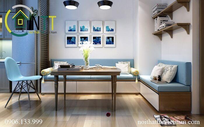 Tổng quan mẫu thiết kế nội thất phòng khách liền bếp chung cư chị Dương