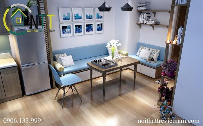 Bàn ghế sofa bằng gỗ sồi tự nhiên thiết kế đơn giản hiện đại cho phòng khách chung cư 70m2
