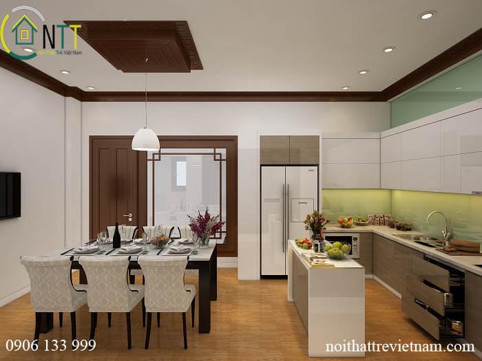 Tổng quan mẫu thiết kế nội thất phòng bếp chung cư 70m2 bắc ninh