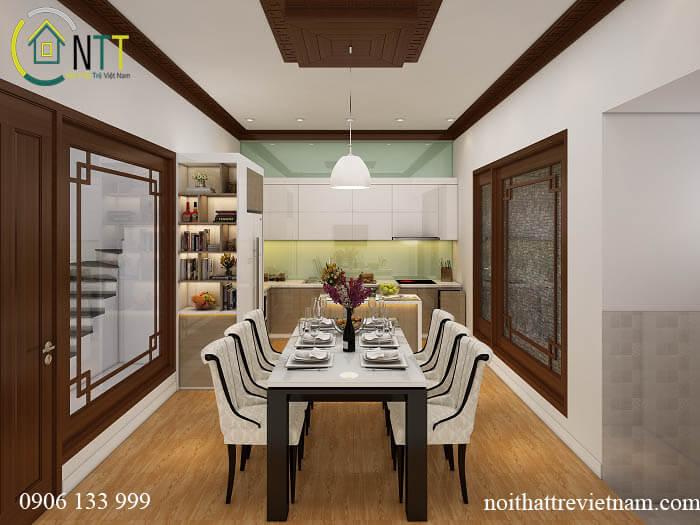 Bàn ghế ăn gỗ sồi tự nhiên và tủ bếp chữ L 2 tầng sáng bóng