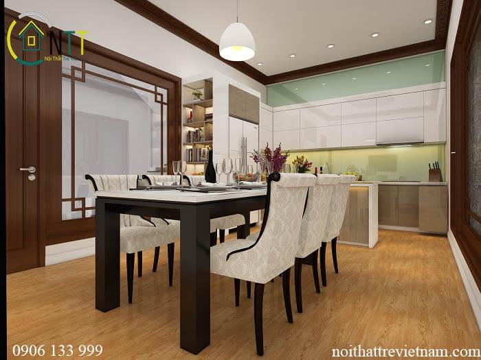 Không gian bếp đầy đủ tiện nghi hiện đại của chung cư chị Hường