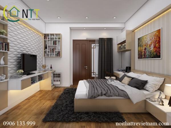 Tổng quan nội thất phòng ngủ master chung cư 70m2