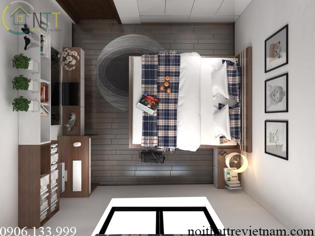 Một góc nhìn từ trên cao phòng ngủ 15m2 với tủ áo âm tường và giá kệ treo tường