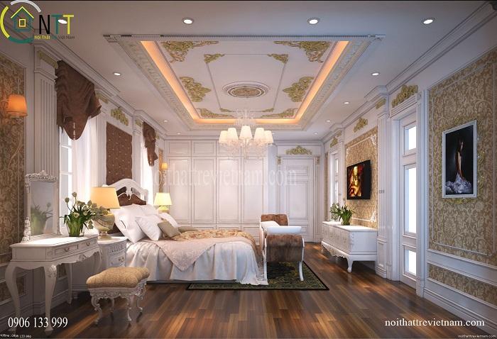 Trần thạch cao trang trí phòng ngủ tân cổ điển với các hoa văn bắt mắt
